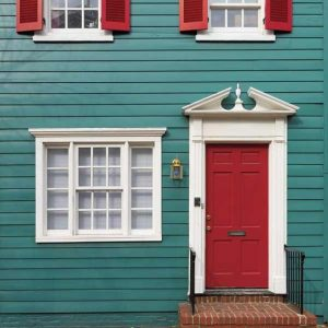 Teal and Red House