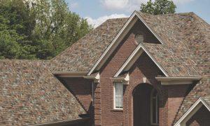 Copper colored asphalt roof