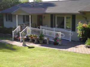 Porch with wheelchair ramp